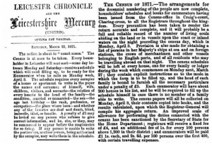 1871 Census in the Leicester Chronicle