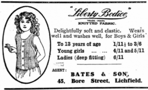 1921 Dec 30th Advert for LIberty Bodices at Edgar Bates shop, Lichfield Mercury
