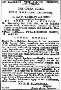 Opera Hotel up for auction, Leicester Chronicle and Leics Mercury, 7 Oct 1893 ref BL_0000173_18931007_002_0001