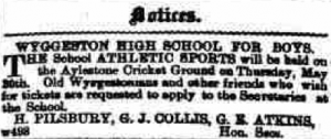 1889 May 18th GJ Collis organising Wyggeston Boys' sports day