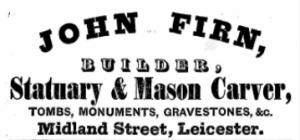 Trade directory advert for John Firn 1862