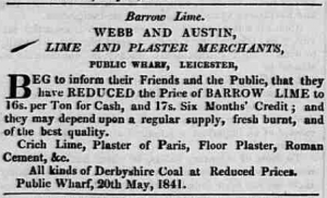1841 Advert for Barrow lime at Webb & Austin, Leicester Journal 21 May 1841