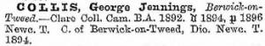 1898 Crockford listing for George Jennings Collis