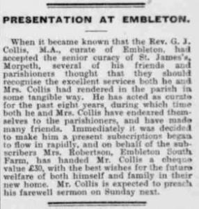 1905 article re GJ Collis leaving Embleton copy