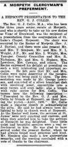 1908 April, GJ Colls receives leaving present from St Luke's Chapel, Hepscott
