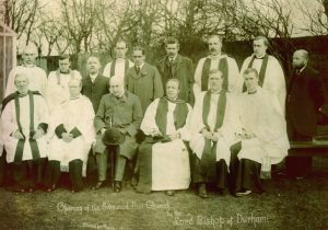 1909 Rev GJ Collis right at reopening of Evenwood Church front rwo, right-hand end