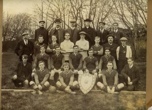 1911 Rev Collis with Evenwood Crusaders, Winners of the Shildon Nursing Cup 1910-11